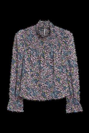 Smocked turtleneck blouse - Floral pattern - Shirts & Blouses - Monki WW