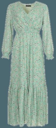 Ditsy Floral Tie Waist Maxi Dress | boohoo
