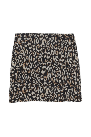Linen-blend Skirt - Black/leopard print - Ladies | H&M US