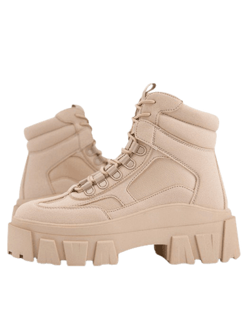 ASOS DESIGN Wide Fit lace up boot in beige faux nubuck with chunky sole | ASOS