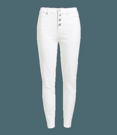 Petite High Waist Skinny Crop Jeans in White