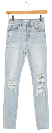 Light Wash Jeans - Ripped Skinny Jeans - High Waisted Denim Jeans - Lulus