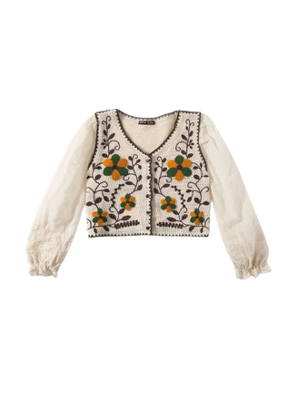 Floral Embroidery Button Front Blouse | SHEIN USA