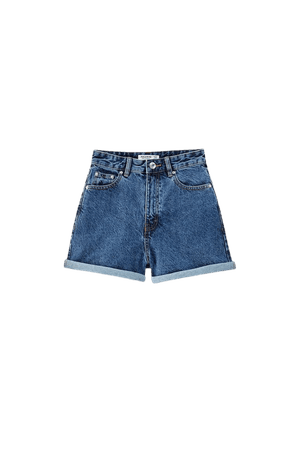 Denim shorts with turn-up hems - ecologically grown cotton (at least 50%) - pull&bear