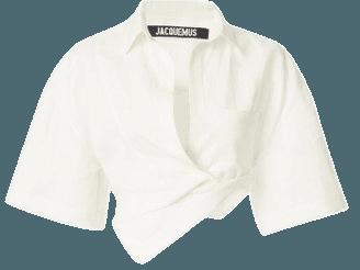 Capri Oversized Twisted Linen Cropped Shirt By Jacquemus   Moda Operandi