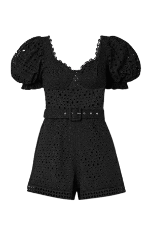 Peggi Belted Broderie Anglaise Cotton-blend Playsuit - Black