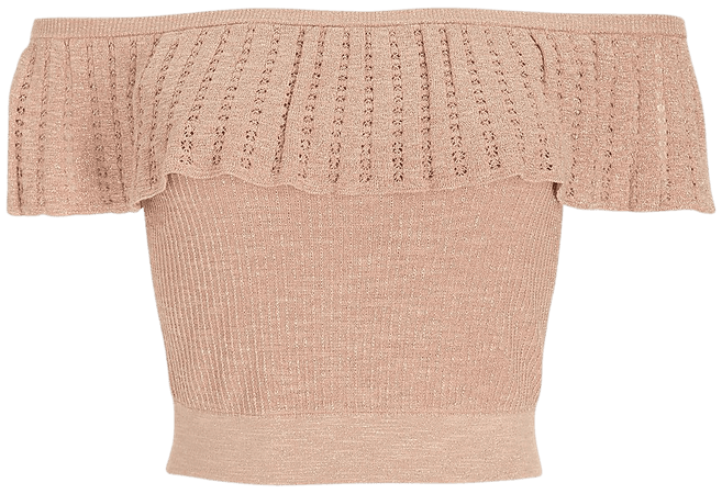 Metallic Ribbed Off The Shoulder Cropped Sweater | Express