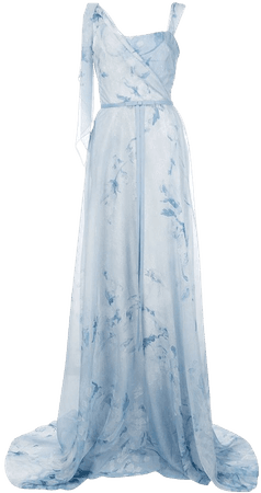 Shop blue Marchesa Notte floral asymmetric gown with Express Delivery - Farfetch