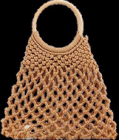 Women Handmade Mesh Beach Bag Wooden Handle Purse Tote Hobo Bag Braided Handbag Beach Purse