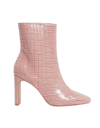 ASOS DESIGN Embark high ankle boots in pink croc | ASOS