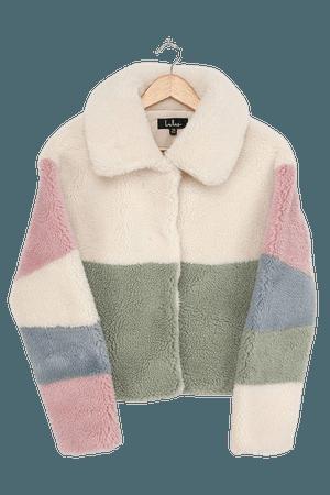 Cream Color Block Jacket - Faux Fur Jacket - Teddy Jacket - Lulus