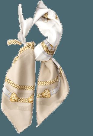 Labellov Gucci White Cream Gold Cream SIlk Scarf Tie
