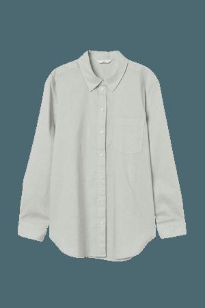 Linen-blend Shirt - Green