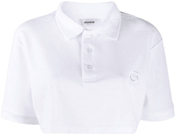 Danielle Guizio Cotton Cropped Polo Shirt in White