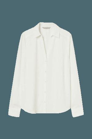 V-neck Blouse - White