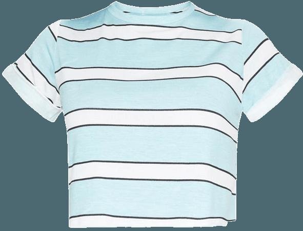 Basic Pink Stripe Roll Sleeve Crop T Shirt   PrettyLittleThing USA