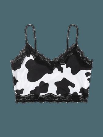 Cow Print Lace Trim Cami Top | SHEIN USA black