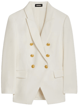 Double Breasted 3/4 Sleeve Novelty Button Blazer | Express