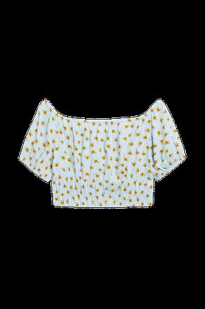 Puff sleeve crop top - Sunflower print - Shirts & Blouses - Monki WW