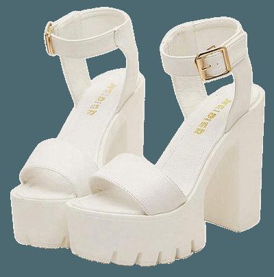 White high heel sandals.