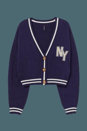 Rib-knit Cardigan - Dark blue/NY - Ladies   H&M US