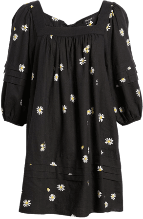 Madewell Pleat Detail Square Neck Minidress | Nordstrom