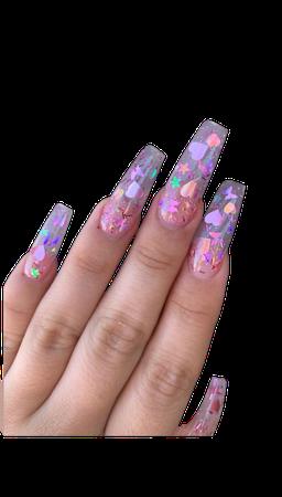 Coffin nails, Heart nails,Butterfly nails, Iridescent nails, Star nails | Coffin nails designs, Cute acrylic nails, Heart nails