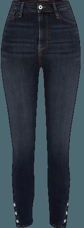 Dark blue Hailey high rise skinny jeans   River Island