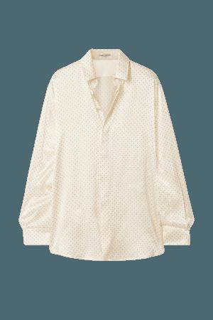 Cream Studded silk-satin blouse   SAINT LAURENT   NET-A-PORTER
