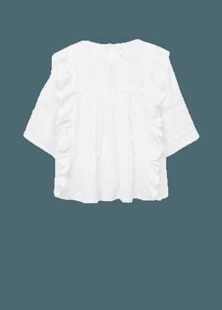 Cotton blouse with openwork details - Women | Mango USA