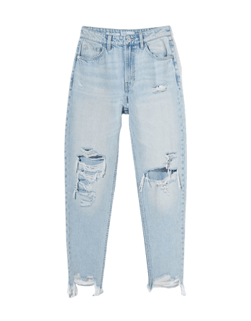 Ripped mom jeans - Denim - Woman | Bershka
