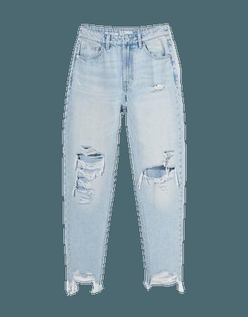 Ripped mom jeans - Denim - Woman | Bershka