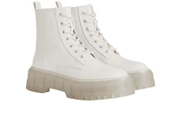 Platform ankle boots with track sole - Shoes - Woman   Bershka