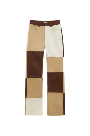 Brown patchwork pants - pull&bear
