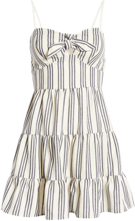 Speechless Stripe Tie Front Cotton Blend Sundress | Nordstrom