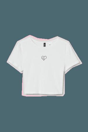 Printed-motif Crop Top - White/Blackpink - Ladies   H&M US