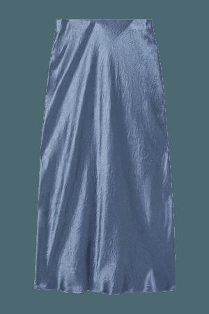 Leisure Alessio Washed-satin Midi Skirt - Navy