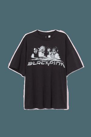 H&M+ Oversized T-shirt - Black/Blackpink - Ladies   H&M US