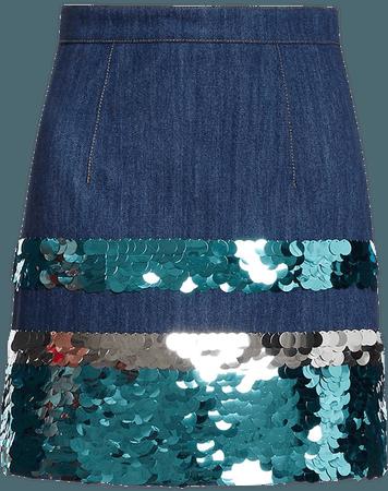 Miu Miu sequin embroidered denim skirt £955 - Shop Online - Fast Delivery, Free Returns