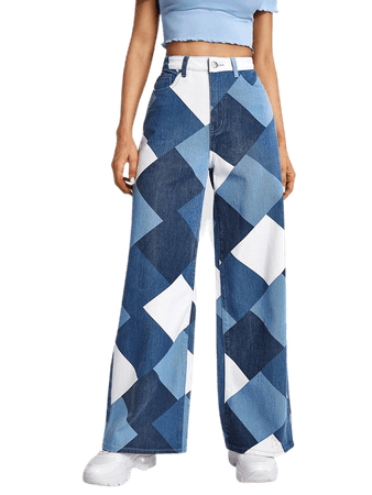 High Waist Argyle Print Wide Leg Jeans | SHEIN USA