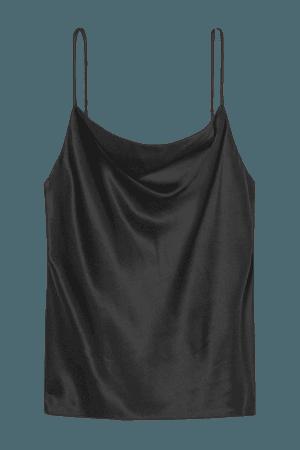 Kay Draped Silk-satin Camisole - Black