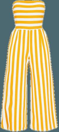 Mustard Contrast Stripe Bandeau Culotte Jumpsuit   PrettyLittleThing USA