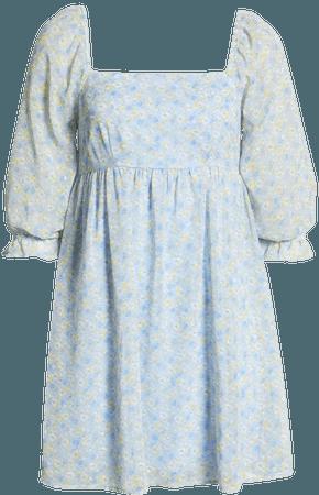 Row A Floral Print Babydoll Dress | Nordstrom