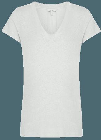 Lottie Sage Linen-Jersey V-Neck T-Shirt – REISS