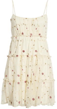 Row A Sleeveless Embroidered Ruffle Dress | Nordstrom