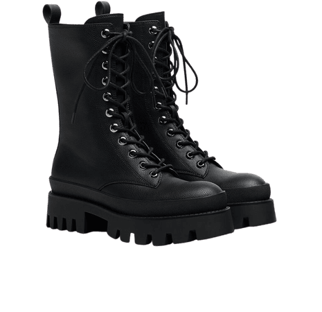 Lace-up ankle boots with XL track platform sole - Shoes - Woman | Bershka
