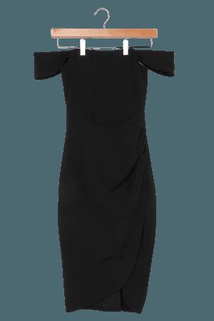Black Midi Dress - Off-the-Shoulder Dress - Bodycon Midi Dress - Lulus