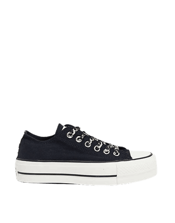 Converse Chuck Taylor All Star Lift Ox Archive Leopard print sneakers in black | ASOS