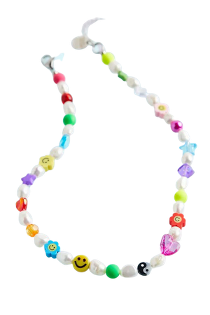Blackcurrant Pop The NNENNA Rainbow Pearl Charm Choker Necklace | Urban Outfitters