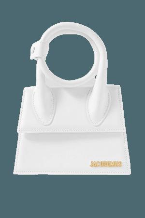 Le Chiquito Noeud Leather Shoulder Bag - White